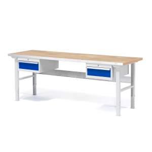 Stół warsztatowy z 2 szufladami, nośność 750 kg, blat o powierzchni dębowej, różne długości