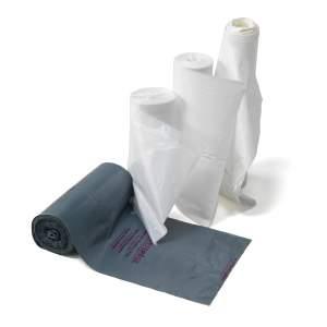 Worki sanitarne, 15 rolek (10 szt./rolka), 110 L, biały