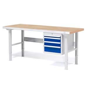 Stół warsztatowy z blatem o powierzchni dębowej z 4 szufladami - różne długości