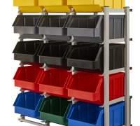 Regał warsztatowy/garażowy z pojemnikami 15 szt. - stojący, jednostronny