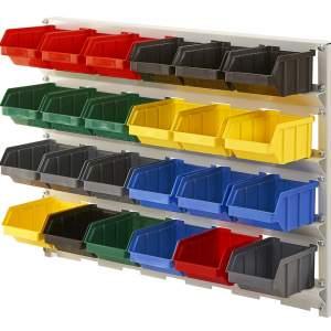 Regał z pojemnikami plastikowymi 24 szt. – wiszący