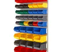 Regał z pojemnikami plastikowymi 46 szt. – wiszący