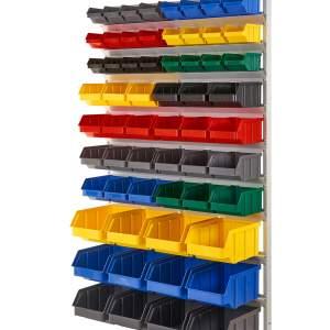 Regał z pojemnikami plastikowymi 60 szt. – wiszący