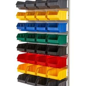 Regał z pojemnikami plastikowymi 32 szt. – wiszący