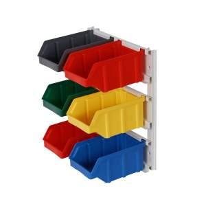 Mini regał z pojemnikami plastikowymi 6 szt. montowany do ściany