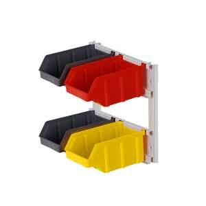 Mini regał z pojemnikami plastikowymi 4 szt. montowany do ściany
