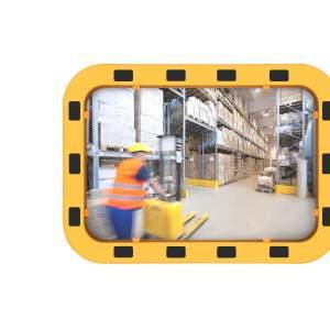Lustro przemysłowe z ramą BHP, akrylowe, prostokątne - różne rozmiary