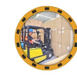 Lustro przemysłowe z ramą BHP, akrylowe, okrągłe - różne rozmiary