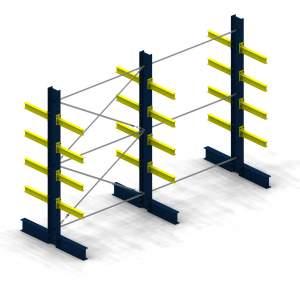 Kompletny regał wspornikowy - wys. 2500 mm, sz. 4092 mm, dł. wspornika: 600 mm, nośność: 6t, rama dwustronna