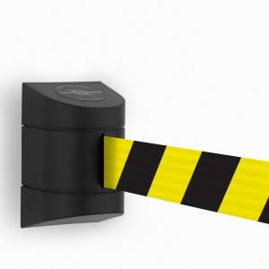 Kaseta ścienna MINI z tworzywa sztucznego z rozwijaną taśmą odgradzającą w kolorze żółto-czarnym o dł. 2,3 m