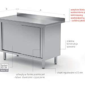 Stół przyścienny z drzwiami suwanymi - stal nierdzewna POL-127