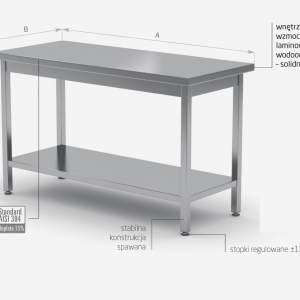 Stół centralny z półką - stal nierdzewna POL-112
