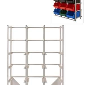 Regał warsztatowy jednostronny - 18 pojemników o wymiarach: 441x290x213 mm