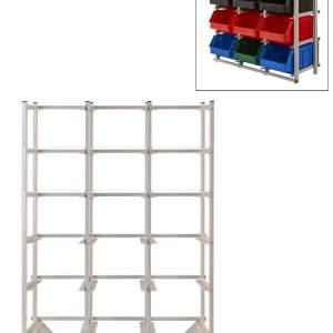 Regał warsztatowy jednostronny - 21 pojemników o wymiarach: 441x290x213 mm