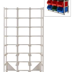 Regał warsztatowy jednostronny - 24 pojemników o wymiarach: 441x290x213 mm