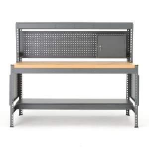 Stół warsztatowy COMBO, z panelem narzędziowym, oświetleniem i szafką, dąb