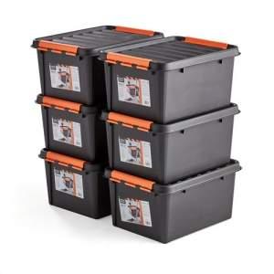 Plastikowy pojemnik z pokrywą, 32 L, 6 szt., 500x390x260 mm, czarny