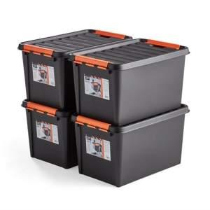 Plastikowy pojemnik z pokrywą, 50 L, 4 szt., 590x390x345 mm, czarny