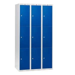 Szafki osobiste 3 sekcje po 3 skrytki w pionie kolor drzwi: Niebieski