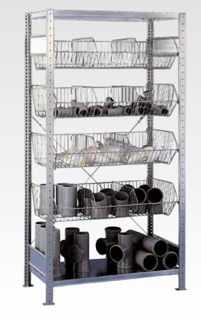 Regał z koszami siatkowymi na bazie regału półkowego, producent Schulte