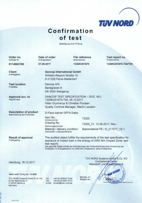 Certyfikat TÜV barierka ochronna DELTA