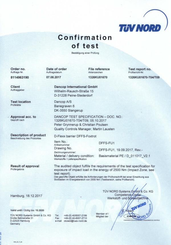 Zdjęcie certyfikatu TÜV dla bariery ochronnej FOXTROT