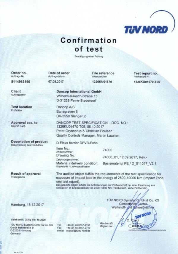 Certyfikat TÜV dla bariery ECHO - wszystkodomagazynu.pl