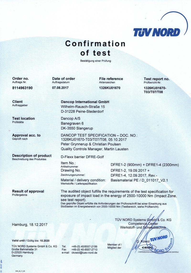 Certyfikat TÜV - elastyczne odbojnice GOLF d-flex
