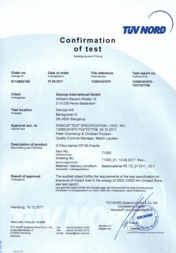 Potwierdzenie uzyskania certyfikatu TÜV - bariera ochronna Charlie - wszystkodomagazynu.pl