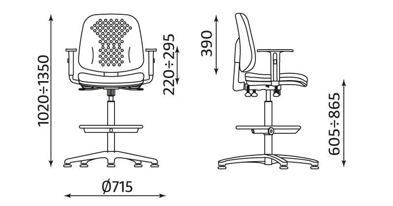 Krzesło warsztatowe LABO z podłokietnikami, mechanizm IBRA, podnóżek - wymiary