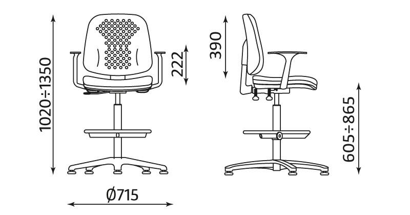 Krzesło laboratoryjne Labo z podłokietnikami, podnóżkiem i mechanizmem ERGO Up - wymiary