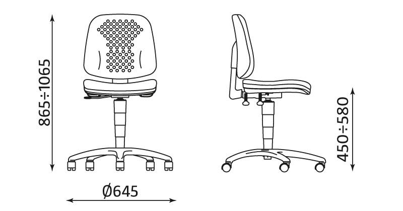 Krzesło warsztatowe LABO bez podłokietników z mechanizmem ERGO UP - wymiary - wszystkodomagazynu.pl