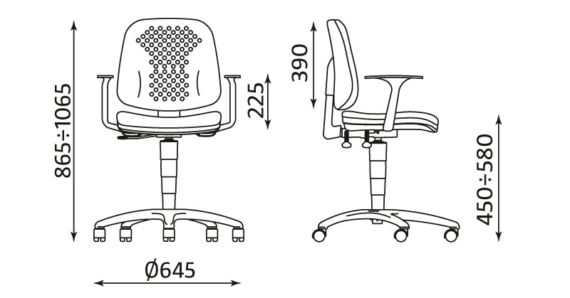 Krzesło warsztatowe LABO z podłokietnikami i systemem regulacji ERGO UP