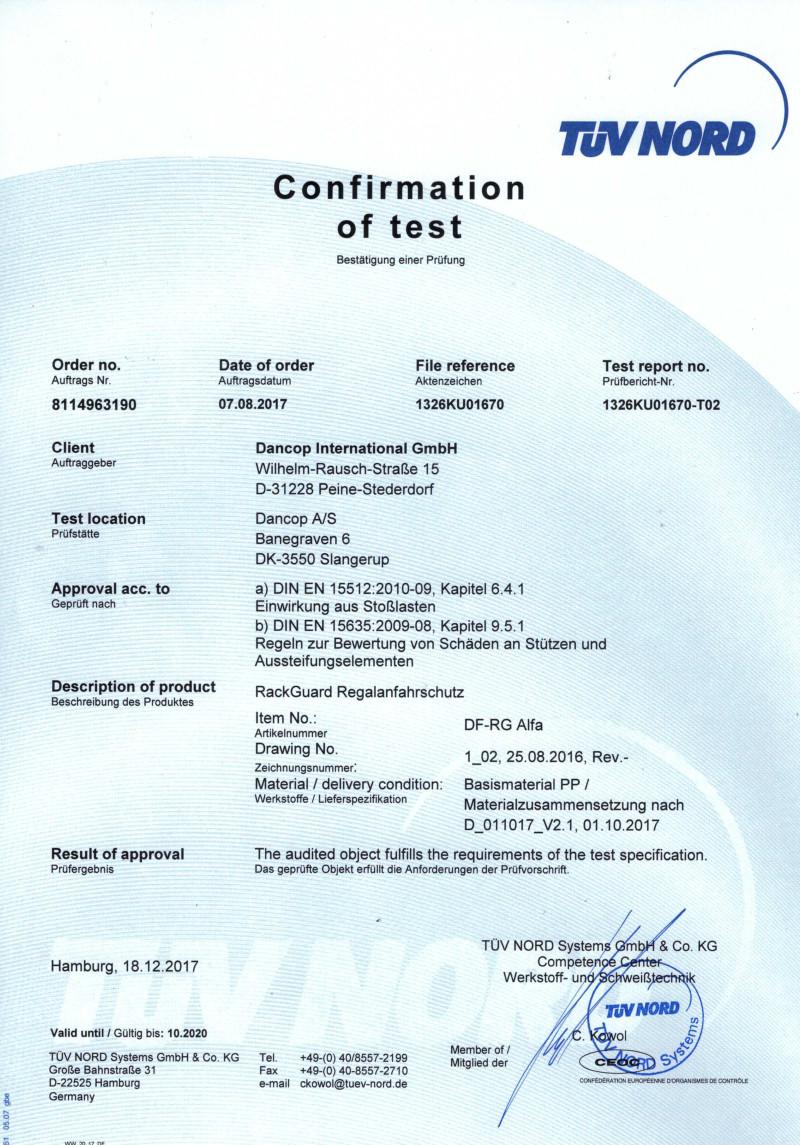 Certyfikat TÜV dla odbojnicy słupa regału magazynowego ALFA - wszystkodomagazynu.pl